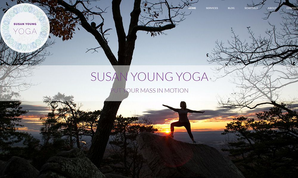 Susan Young Yoga home page screenshot