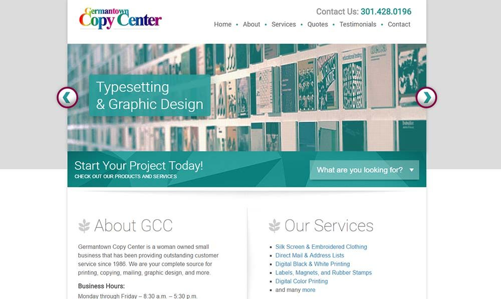 Germantown Copy Center home page screenshot