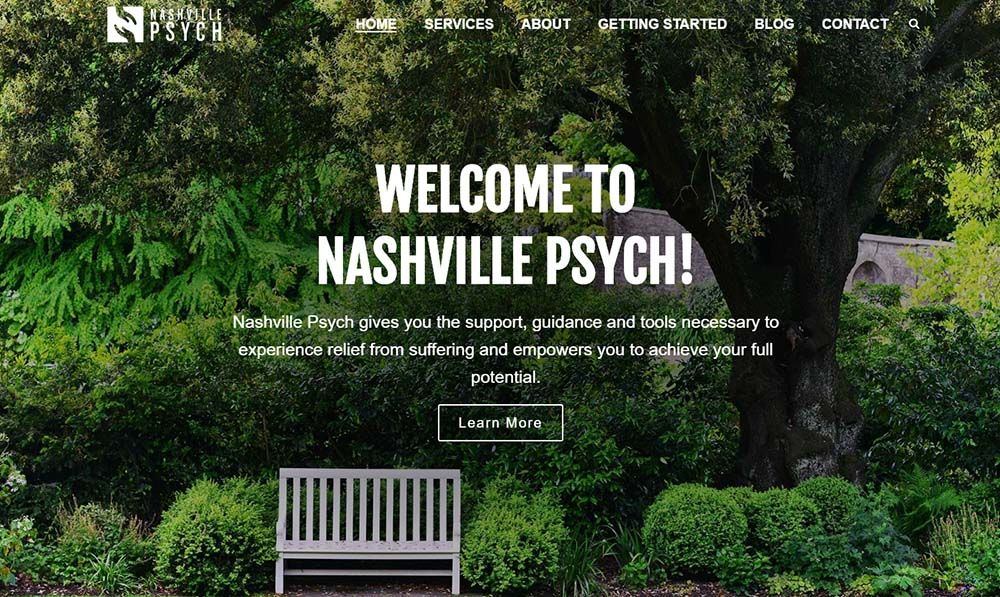 Nashville Psych home page screenshot