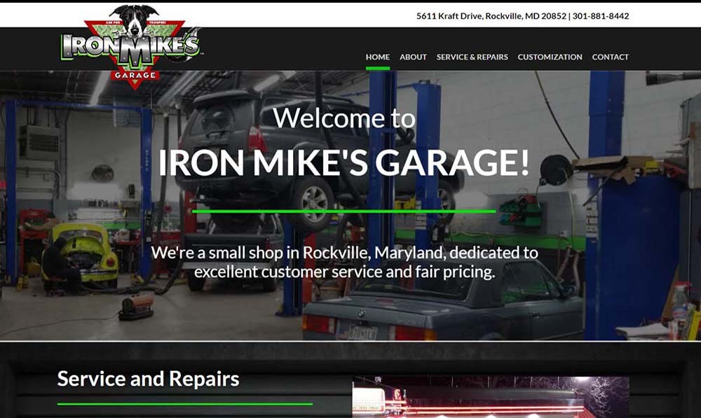 Iron Mikes Garage home page screenshot