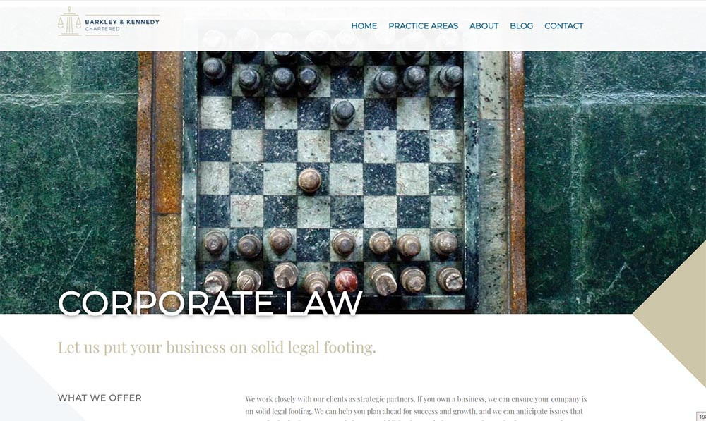 Barkley & Kennedy Corporate Law page screenshot