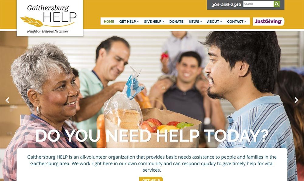 Gaithersburg HELP custom website redesign project